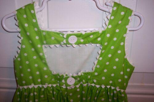POLKA DOT SUNDRESS-Lime Green /& White-Lined Bodice-Poof Pockets-Washable-New