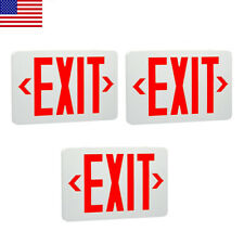 3 Pack Abs Red Led Exit Sign Ul Emergency Light Dual Led Lamp Fire Resistance