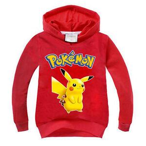 Kid Unisex Pokemon Pikachu Jumper T-shirt Hooded Tops Boys Girls Sweatshirt Coat