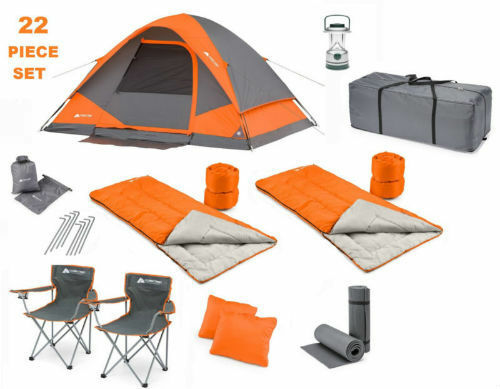 Camping combo set for 4 including  stakes, 2 sleeping bags, gear loft, and more