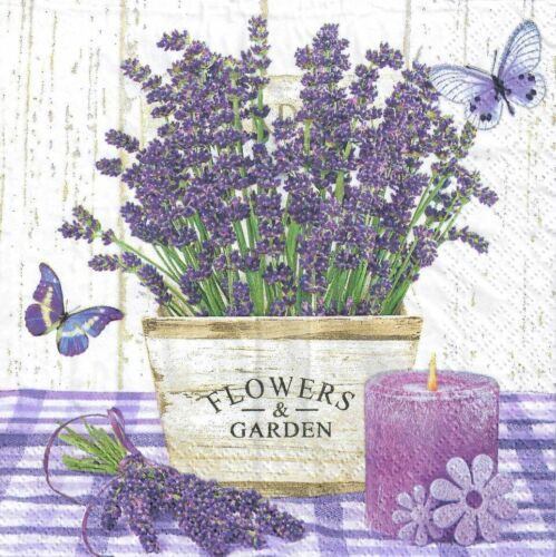4 single paper decoupage napkins purple flower garden design -241 Lavender