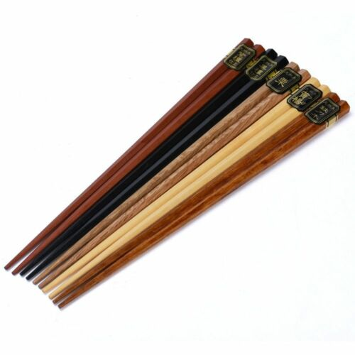 5 Pairs Japanese Reusable Chopsticks Natural Beech Wood Chopsticks Chinese Set