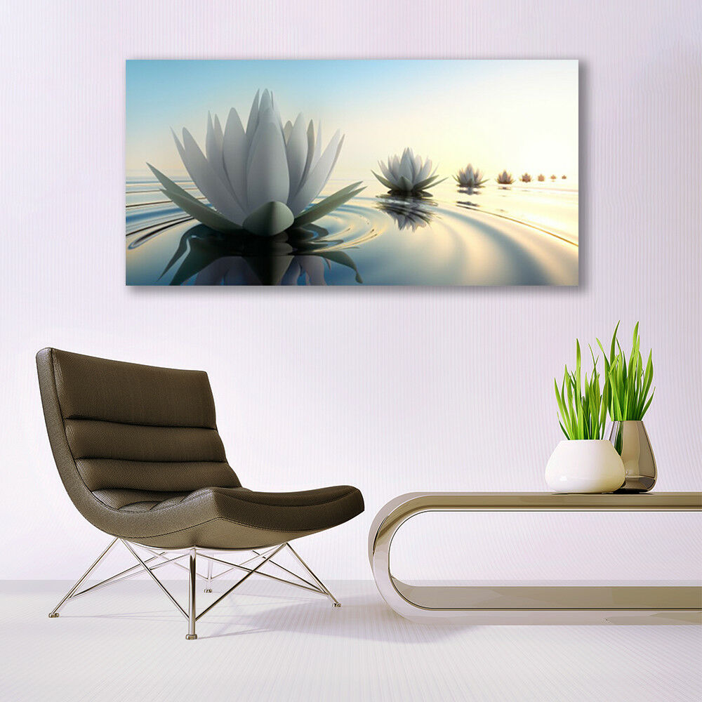 Print on on on Glass Wall art 140x70 Picture Image Flowers Water Art fd002a