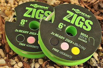 4 X PACKS OF KORDA READY MADE BARBLESS HOOK ZIG RIGS ALL LENGTHS