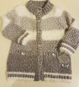 895ade60ade1 Tahari Baby Girls Long Sweater 24M Shimmery Silver White Fuzzy