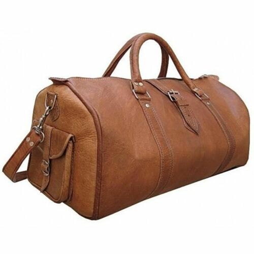 Men/'s Genuine Leather Large Triangle Duffel Travel Gym Weekend Overnight Bag New