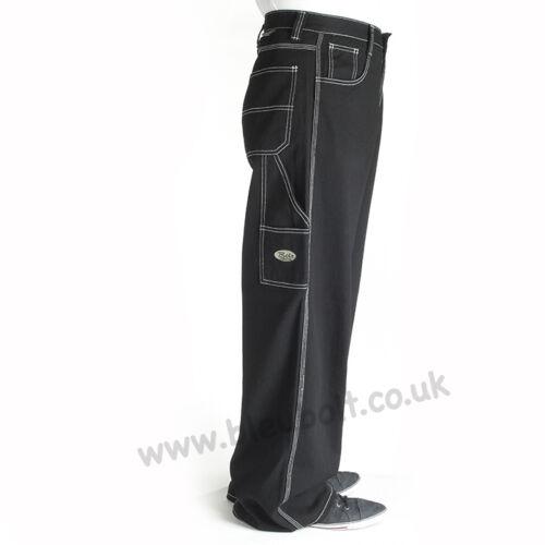 """Bleubolt Black Carpenter Skater Jeans 24/"""" hem Big Size Baggy Loose fit"""