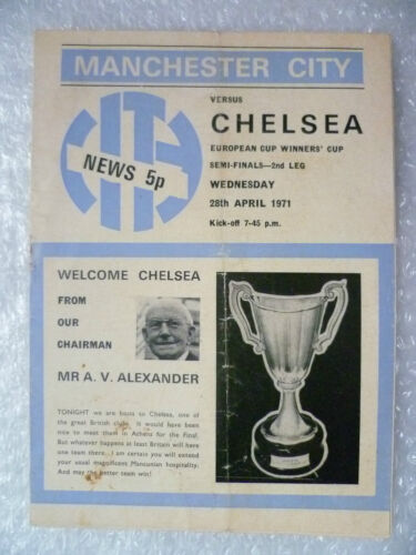 1971 European Cup Winner's Cup Semi Final MANCHESTER CITY v CHELSEA, 28 AprOrg