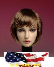1/6 Female Head Sculpt American European Short hair for Kumik Phicen Hot Toys US