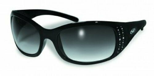 Womens Ladies Motorcycle ATV Riding Glasses w//Rhinestones /& Smoke Lenses
