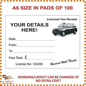 A6 TAXI RECEIPT PADS (PERSONALISED) WITH FREE ARTWORK CHANGES