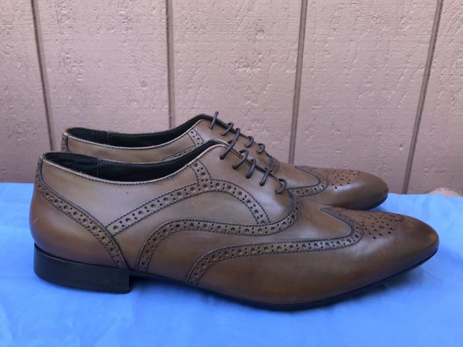 MINT A. TESTONI MEN'S 12M BASIC WINGTIP BROQUE BROWN LEATHER LACE UP SHOES A4