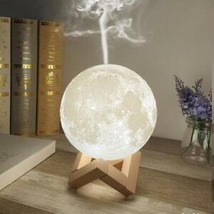 UMIDIFICATORE ULTRASUONI LAMPADA LUNA LUCE LED AROMATERAPIA DIFFUSORE AROMI FUMO