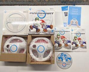 Nintendo Wii Mario Kart Big Box Complete & Extra Boxed Wii Wheel NICE! RVL-024