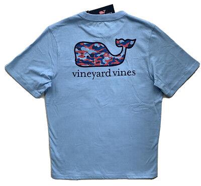 VINEYARD VINES Boys Camo Whale Pocket T-Shirt Blue Tee NWT LARGE 16 XL 18