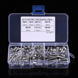 170x-M4-304-Stainless-Steel-Hexagon-Socket-Screws-Bolts-Hex-Nuts-Assortment-Kits