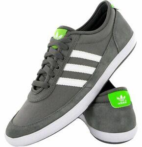 Details zu Adidas M17811 Court SPIN Canvas Rau UP Leder Schuhe Running Sneaker 46 Grau Weiß