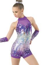 Details about  /Child Large Jazz Bustle Unitard Dance Costume Capri w// Bustle BLUE