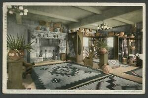 Williams AZ: c.1908 Harvey Postcard INTERIOR INDIAN BUILDING, HOTEL FRAY MARCOS