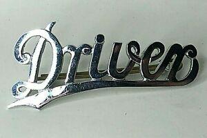 Tram Or Bus Driver Chrome Cap Badge Italic Script With underline 67 x 30 mm