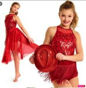 Curtain-Call-FINESEE-2-in-1-performance-jazz-tap-dance-costume-Size-18-10-CME