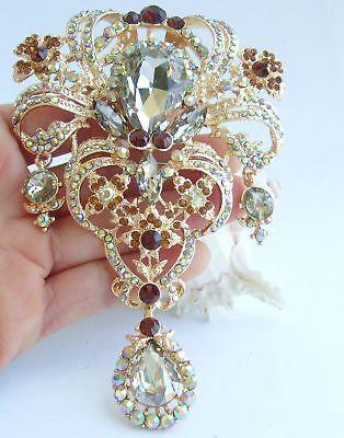 "5.12/"" Wedding Clear Austrian Crystal Teardrop Brooch Pin Pendant 04042C1"