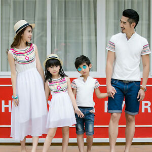 4a11890931 Matching father mother daughter son clothes mommy and me beach dress ...