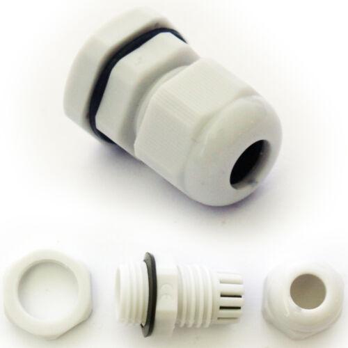 5x M16 4-8mm Glande Câble Gris-connecteur de compression étanche IP68 lock nut