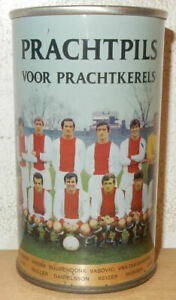 AJAX-AMSTERDAM-1968-Soccer-Team-Straight-Steel-AMSTAEL-Bier-can-HOLLAND-34cl