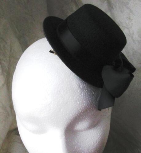 black mini top hat fascinator millinery burlesque wedding hen party fancy dress