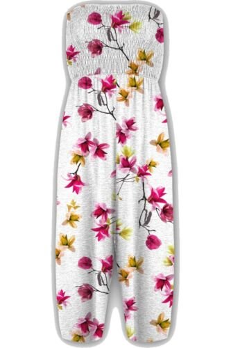 New Womens Floral Sheering Gathered Bandeau Boobtube Playsuit Plus Size Jumpsuit