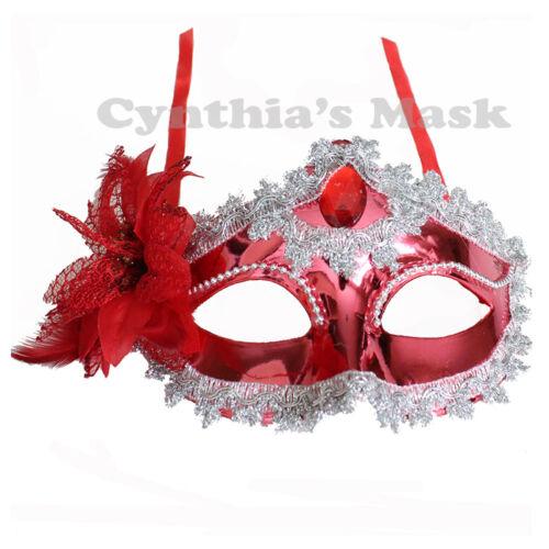 Red Floral Shiny Metallic Venetian Masquerade Mask Prom Mardi Gras Halloween