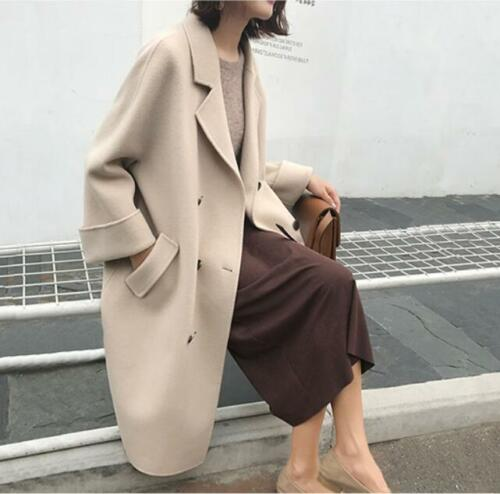 Womens Wool Blend Long Loose Coat Double Breasted Parka Casual Coats Ske15