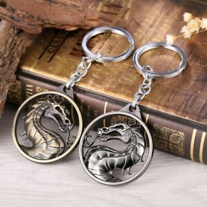 Mortal-Kombat-keychain-metal-necklace-pendant-Dragon-2color-gold-amp-silver-combat