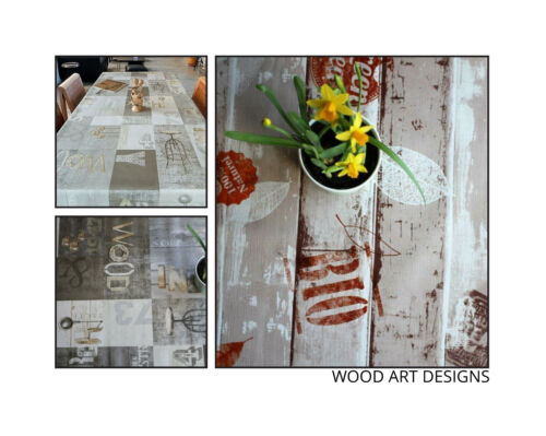 Wipe Clean Tablecloths Embossed Wood Art Designs by WJDhome,Oilcloth,PVC.