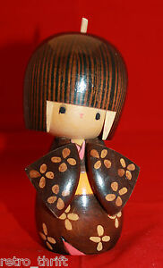 Japanese Creative Sosaku Wooden Kokeshi Doll Kosode Signed by Tomio Kimono AS-IS