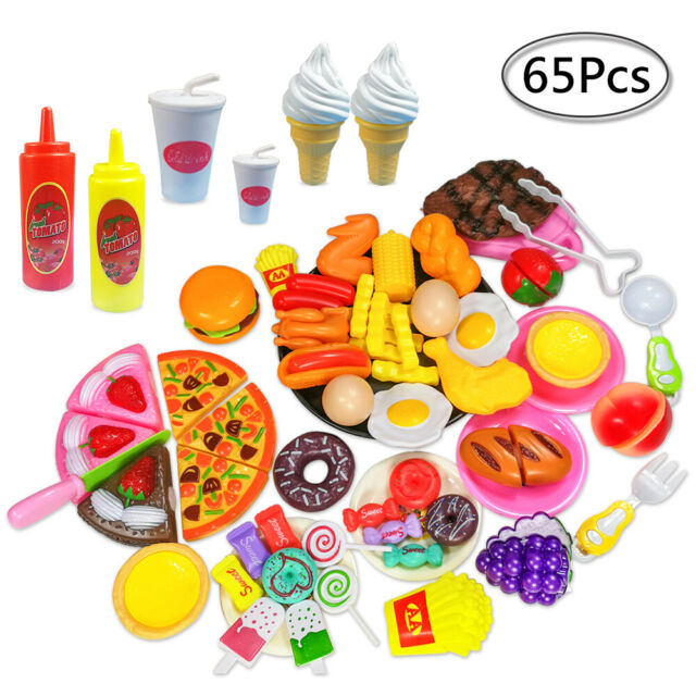 65pcs Kids Toy Pretend Role Play Kitchen Pizza Food Cutting Sets Children Gift