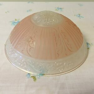 """Vintage Frosted Pink Glass Ceiling Light Fixture Shade W/ 3 Chains 10"""" Diameter"""