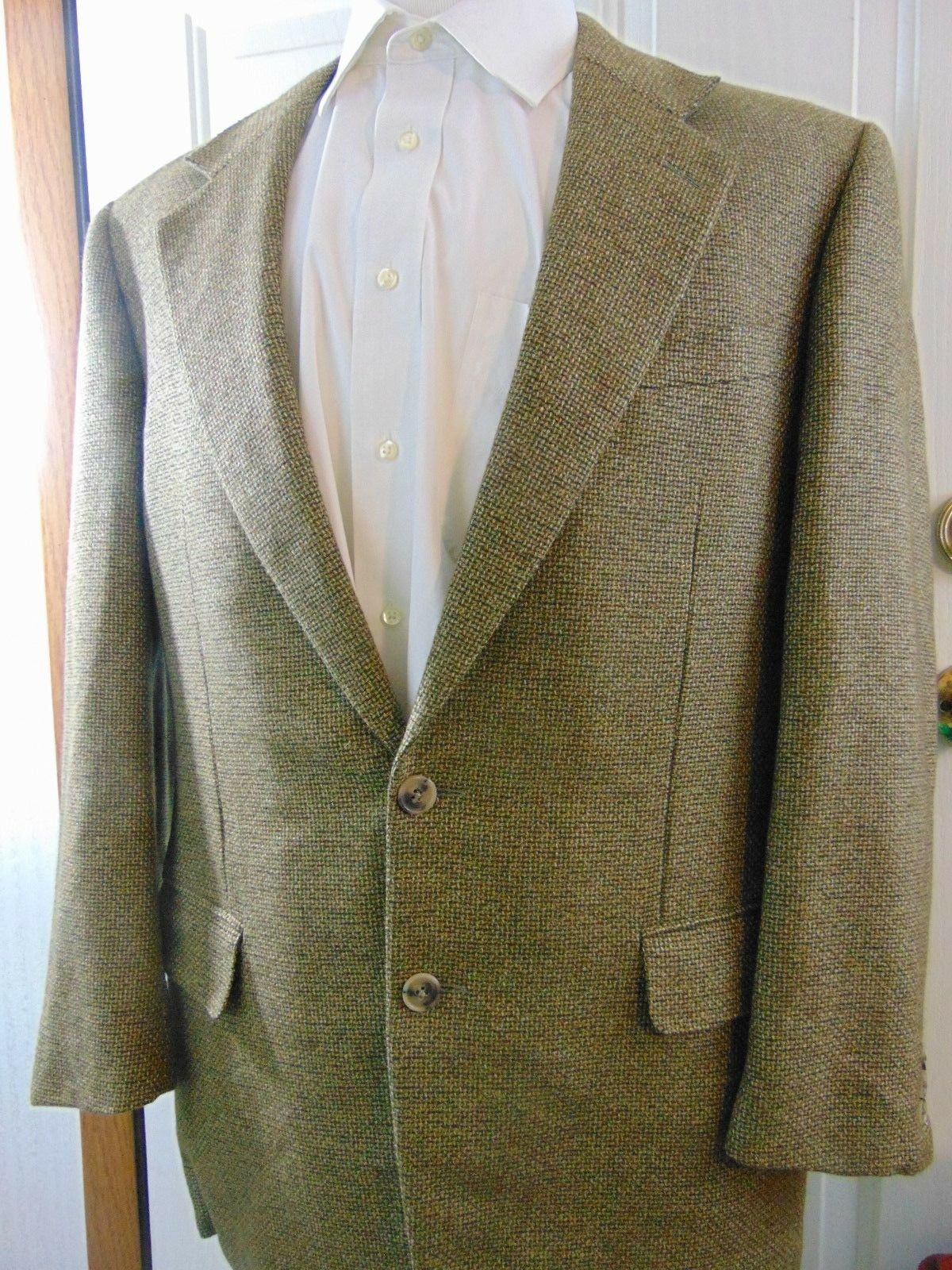 ERMENEGILDO ZEGNA Multi color Tweed 100% Cashmere Blazer 52REG 42R US VGUC