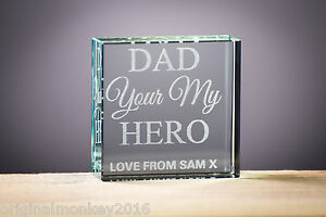 Details about PERSONALISED GIFTS, DAD GIFT, GLASS BLOCK, MUM GIFT, BIRTHDAY  GIFT