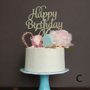 Image Is Loading 1X HAPPY BIRTHDAY Cake Pick Topper Sparkly Decorating
