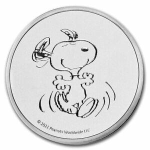 2021 Silver 1 Oz Peanuts Snoopy Peanuts Worldwide Copyright