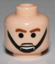 LeGo Star Wars Light Flesh Minifig Head Male Brown Eyebrows Black Chin Strap