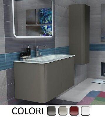 Mobile Bagno Liverpool da 94 cm lavabo cristallo 4 colori bordi arrotondati