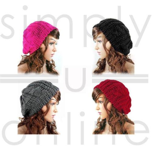 Damen Winter Warm stilvolle Beanie gestrickt Hut häkeln Slouch Barett Mütze Cap