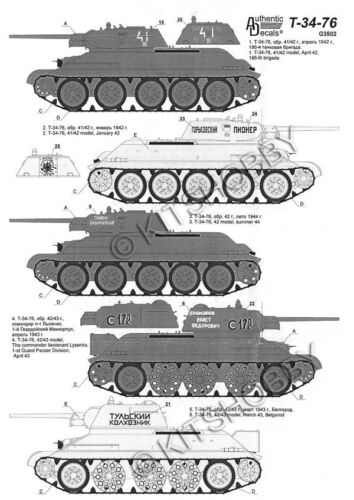 Authentic Decals 1//72 Russian T-34 Tank decals