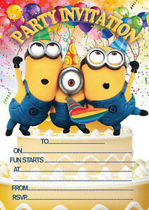 10 X Children Birthday Party Invitations Thank You Cards Minions