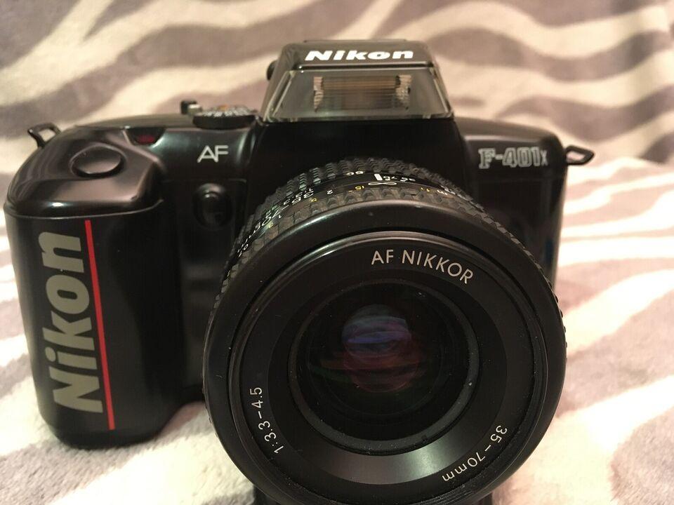 Nikon, F 401 x AF med linse og blitz, spejlrefleks