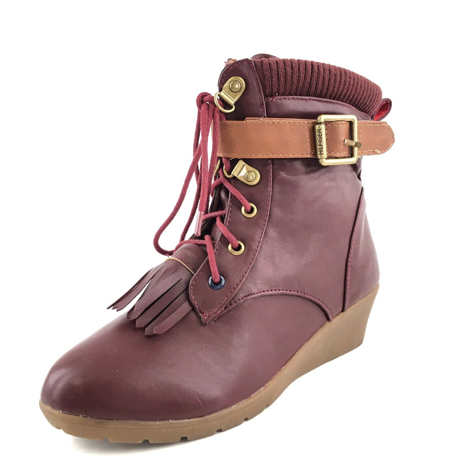 Tommy Hilfiger ARIEL Burgundy Lace Up Fashion Ankle Boots Women's Size 5 M*