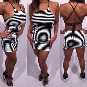 Connie S High End Lined Sexy Open Back Black And White Striped Mini